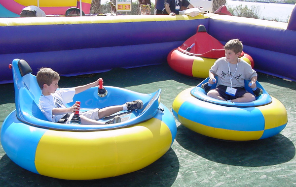 Bumper Cars in a Inflatable Rink