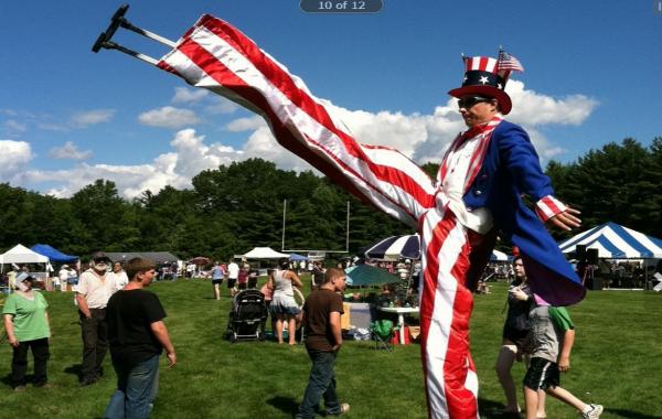 Larry R   Uncle Sam Stiltwalker  Unicyclist Juggler  Fire juggler
